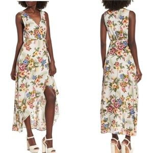 Everly floral wrap front surplice maxi dress